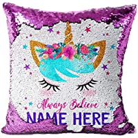 KRAFTYGIFTS Personalised UNICORN Magic Reveal Cover Sequin Cushion Mermaid Case PINK KC55