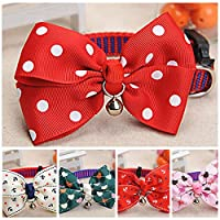 Decdeal Cat Dog Pet Collar Bell Dot Bow Butterfly Knot Cat Collar Adjustable Buckle Necklace Puppy Dog Collar Pet Supplies
