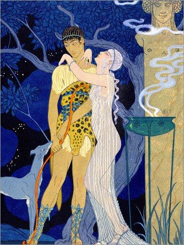 te 90 x 120 cm: Venus and Adonis von Georges Barbier/Bridgeman Images (Griechische Jäger Und Göttin)