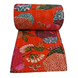 Indian Kantha Quilt Cotton Queen Size Orange Blumen Reversible indische Tagesdecke