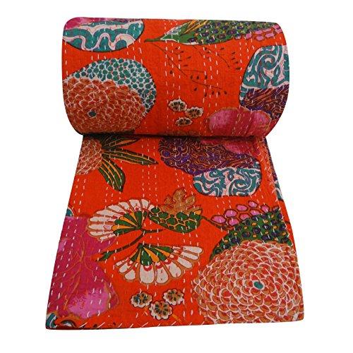 Indian Kantha Quilt coton Queen Size floral orange réversible indienne Couvre-lit