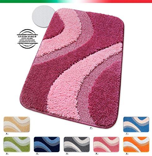 Tappeto bagno shaggy antiscivolo moderno varie misure tappeti casa bordato scendiletto scendi doccia 100% made in italy mod.evia 55x110 porpora (p)