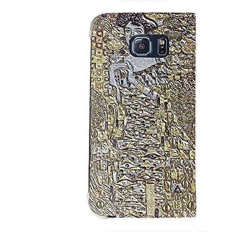 Klimt - Portrait Of Block-Bauer 2, Texture Portafoglio Mesh Flip Custodia Protectiva in Pelle Wallet Case Cover Shell Nero con Design Strutturato per Samsung Galaxy S6 Edge G9200.