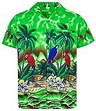 V.H.O. Funky Hawaiihemd, Kurzarm, Papagei, grün, XS