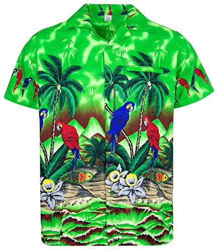 V.H.O. Funky Hawaiihemd, Kurzarm, Papagei, grün, XS (Grün Papagei)
