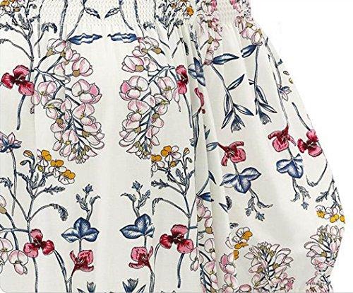 OverDose Damen Spitze weg vom Schulter-beiläufige kurze Hülsen-T-Shirt Spitzenbluse G-Weiß