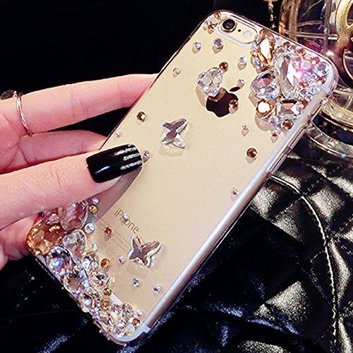 Paillette Coque Housse Etui pour iPhone 6/6S,iPhone 6S Coque en Silicone Glitter,iPhone 6S Silicone Coque Couleur Diamants pour Femme Fille Transparent Etui Gel Slim Case Soft Gel Cover, Ukayfe Etui d Diamant-Or