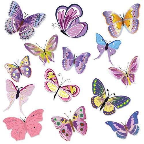 Wandkings Schmetterlinge Wandsticker Set, 14 Aufkleber, 2 DIN A4 Bögen, Gesamtfläche 60 x 20 cm