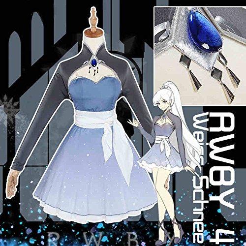Weiss Cosplay Kostüm Schnee (Skylynn--Anime RWBY Die vierte Staffel Kostüme von Erwachsenen Weiss Schnee cosplay (Mailen Sie uns Ihre Größe) (S 150-155cm)
