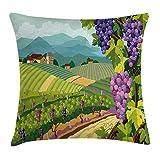 Grapes Home Decor - Funda de cojín con marco de viñedos con espirales frescos para jardín, diseño de plantas de exuberante, cuadrada, 45,7 x 45,7 cm