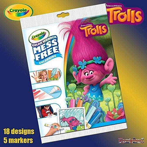 B-Creative Crayola Disney Trolle Farbe Wonder Chaos Free Magic Färbung Buch & Pens gesetzt