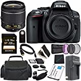 Nikon D5300 DSLR Camera With AF-P 18-55mm VR Lens (Black) + Toshiba Flash Air III Wireless SD Memory Card 16GB + Fibercloth Bundle