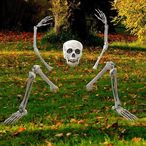 Prextex.com Gruselige Friedhofsdeko für Halloween, aus der Erde Steigendes Skelett für Ihre ()