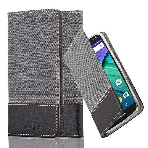 Cadorabo Hülle für Motorola Moto X Style - Hülle in GRAU SCHWARZ – Handyhülle mit Standfunktion und Kartenfach im Stoff Design - Case Cover Schutzhülle Etui Tasche Book