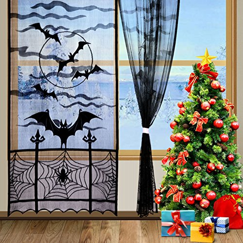 aytai 2schwarz Spider Halloween Spitze Fenster Vorhang, Fledermäuse Spooky Tür Vorhang Panel, für Halloween Party Dekoration