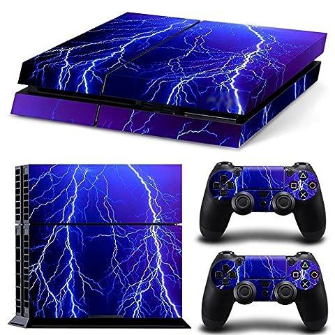 Stillshine PS4 Vinyl Colorés Decal Autocollant Skin Sticker pour Playstation 4 console x 1 et le Manette x 2 (Violet Lightning)