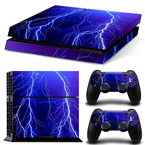Ps4 Playstation 4 Consola Design Foils Sticker Decal Pegatinas + 2 Controlador Skins Set (Violet Lightning)
