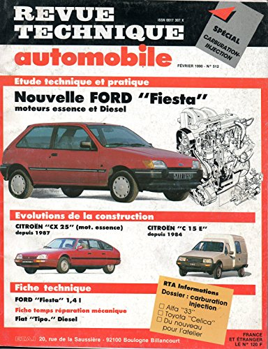 REVUE TECHNIQUE AUTOMOBILE N° 512 FORD FIESTA ESSENCE ET DIESEL / C / CL / CLX / GHIA / S par E.T.A.I.