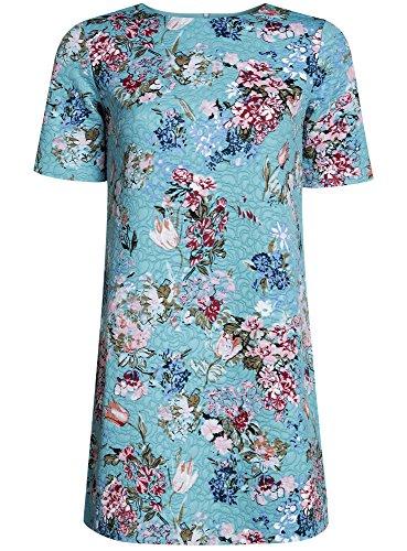 oodji Collection Femme Robe Coupe Droite en Tissu Texturé Vert (6519F)