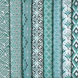 Textiles français Stoffpak - Set de 8 telas - Colección TRIBAL MODERNA (celadon) - pequeños diseños | 100% algodón | cada pieza 35 cm x 50 cm
