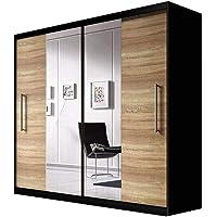 E-MEUBLES Armoire de Chambre avec 2 Portes coulissantes | Penderie (Tringle) avec étagères (LxHxP): 204x218x58 Nico avec…