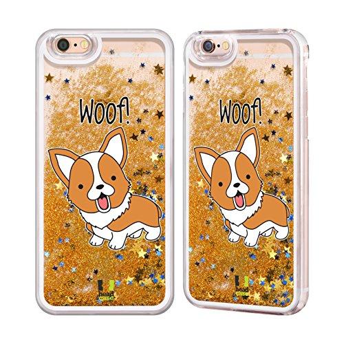 Image of Head Case Designs Corgi Happy Puppies Gold Liquid Glitter Case Cover for Apple iPhone 6 / 6s