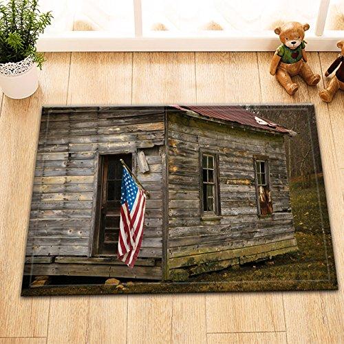 Blockhaus Für Dekor (Wald,Blockhaus,amerikanische Flagge,rot,weiß,grau/Dekor Badematte rutschfest waschbar weich Duschdecke 40X60 CM)