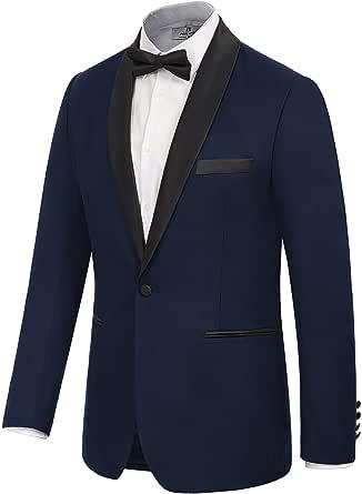 Men's Prom Tuxedo Jacket Satin Shawl Lapel Slim Fit Blazer Suit