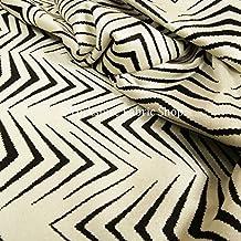 New Geométrico Diseñador Moderno Delgado Chevron De Rayas Negro Crema Calidad Suave Con Textura Terciopelo Tapicería Muebles Telas - Crema, Negro, 10 Metre