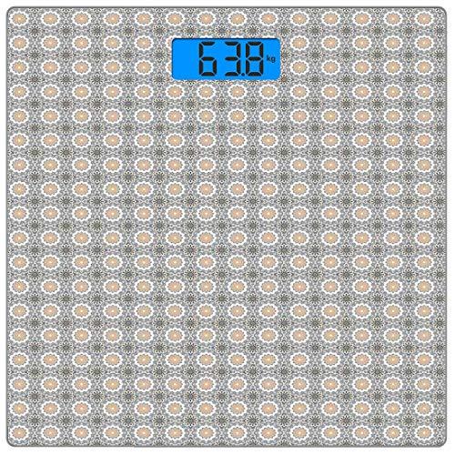Digitale Präzisionswaage für das Körpergewicht Ethnische Ultra Slim-Personenwaage aus gehärtetem Glas Genaue Gewichtsmessungen, Arabeske der marokkanischen Folklore Orientalische östliche osmanische k -