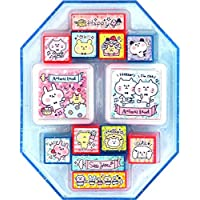 Q-Lia set with 11 small animal stamps and inking pads, with cats, rabbits, a frog, bears etc.