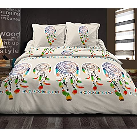 Suavidad de Nuits 1303_20-Juego de cama funda nórdica de 240 x 260 cm, 2 fundas de almohada de 63 x 63 cm, algodón, multicolor