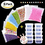 71000pcs Styrofoam Balls for Slime and DIY Crafts Supplies(8Pack), Colorful Foam Beads For Making Floam, School Arts, Fillter - Free Bonus Fruit Slice + Googly Eyes + Slime Tools Set