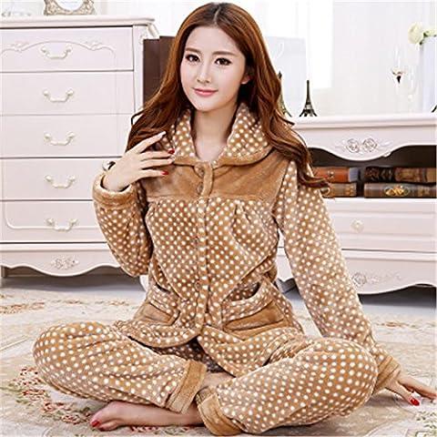 MH-RITA L'hiver 2017 nouvelles femmes et hommes manches longues flanelle pyjama pantalon pyjama chaud coral fleece vêtements couple home spot chameau