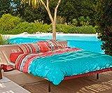 Bassetti Granfoulard.- Bettwäsche Tiziano V3 blau 155x220 + Spannbettücher 90x200 + 1 Kissenbezug 45x110 cm in