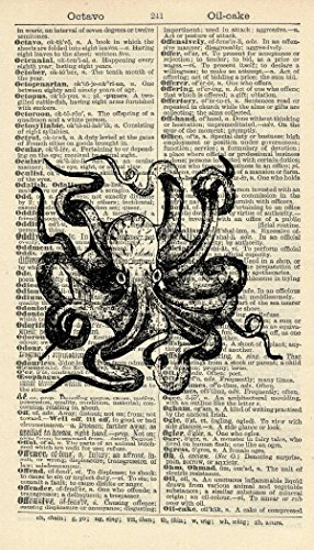 Octopus Art Print - Bathroom Art Print – Restroom Art Print - Nautical - Vintage Art Print - Vintage Dictionary Art Print - Wall Art - Gift - Artwork - Illustration - Wall Hanging - Book Print 624B