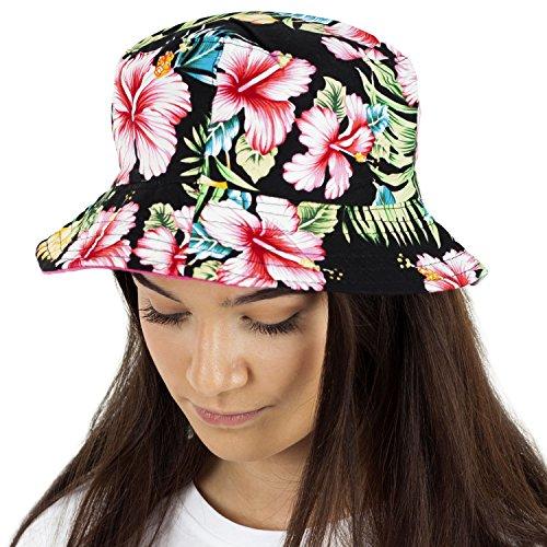 b79f9f59709 TOSKATOK Ladies Womens Reversible Cotton Retro Floral Bush Bucket Sun Hat -CER Blk
