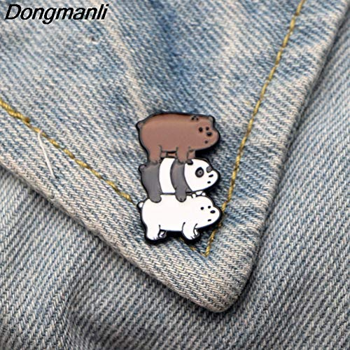 HYLIWI Brosche We Bare Bears Cartoon Brooch Metal Enamel Brooches for Women Men Tie Pins Cute Clothes Pin Badge Jewelry (Vogel Clip Tie)