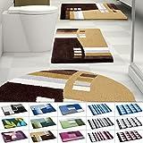 casa pura Design Badematte | Rutschfester Badvorleger | Viele Größen | Zum Set Kombinierbar | Öko-Tex 100 Zertifiziert | Viele Muster zur Auswahl | Welle - Braun (60 x 100 cm)
