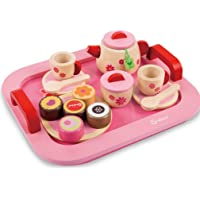 Toyshine Wooden Princess Afternoon Tea Party Set Pretend Play Toy for Girls (18 Pieces, Multicolour)