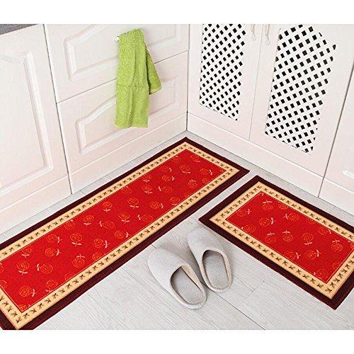 Treppe Läufer-gummi (Küche Teppiche Gummi Zurück Dekorative Rutschfeste Fußmatte Läufer Bereich Staub Matten Sets 2 Stück Geschirr,B)