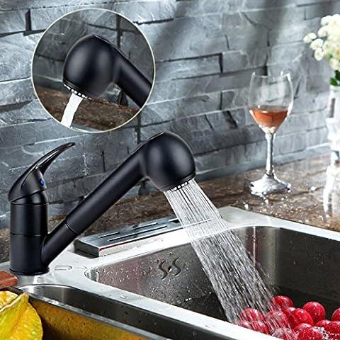 Küchenarmatur Schwarz herausziehbarer Geschirrbrause 2 Strahlarten 360°Schwenkbereich aus Messing