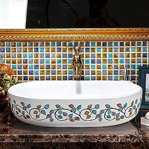 JinRou Handmade ceramic art Wash basin, high-end classical contemporary bathroom sink 60*15cm