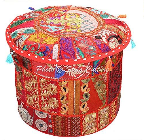 Stylo Culture Asiento de puf Vintage Puf Grande de Suelo Cubierta Rojo