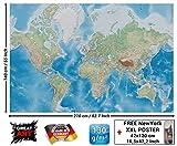 Foto mural mapa mundial - imagen mural decoración proyecctión Miller mapa globo mundial la tierra geográfica con sus desños relifes I foto-mural foto