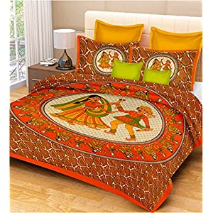 UniqChoice Blue Color Rajasthani Traditional Printed 120 TC 100% Cotton Double Bedsheet with 2 Pillow Cover,UCBDKG204