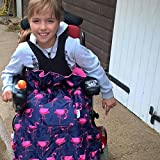 BundleBean Childs Wheelchair Rain Cover/Cosy / Special Needs Buggy Cosy - waterproof, fleece, universal fit. Navy/pink flamingos