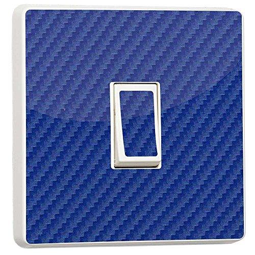 stika.co Uni Generic Single Lichtschalter Aufkleber Blue Carbon Fibre