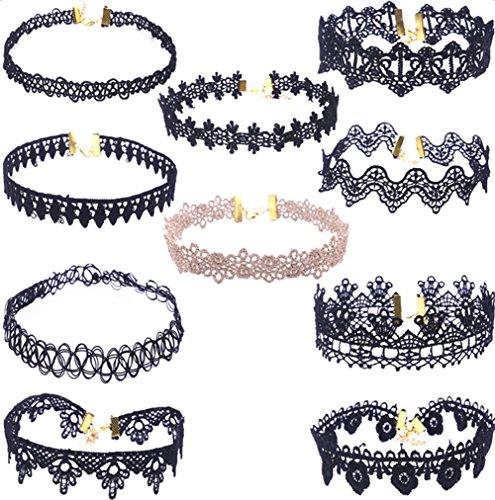 Da.Wa 10 Stück Halsketten Set Vintage Schwarze Klassische Gotische Tattoo Spitze Choker Halskette für Damen Mädchen