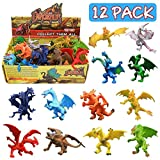 Dragon Toys, 12 Piece Assorted Realistic Looking Dragon Figure, 4 Inch Mini Dragons Sets With Gift Box, Zoo World Non-toxic Safety Materials ABS Vinyl Plastic Dragon, Party Favors Toy For Boys Kids
